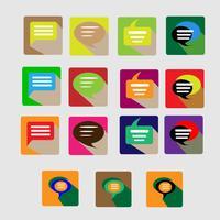 Moderna platt konversation ikoner vektor samling med lång skugg effekt i snygga färger av webbdesign objekt, affärer, kontor och marknadsföring objekt.