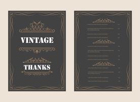 Weinlese-Verzierungs-Gruß-Karten-Vektor-Schablone und Retro- Einladungsdesignhintergrund, können für Hochzeitsflourishes-Verzierungsrahmen benutzt werden. A4-Designseite