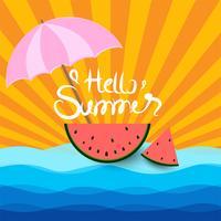 sommarbakgrund med vattenmelon under paraply och solsken vektor