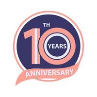 10-jähriges Jubiläum Zeichen und Logo Feier