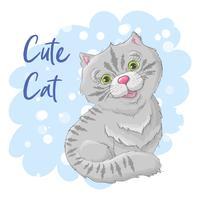 Illustration Postkarte süße Katze. Druck auf Kleidung und Kinderzimmer