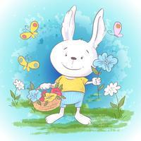 Illustration vykort Gulliga lite hare blommor och fjärilar. Skriv ut på kläder och barnrum