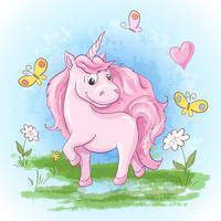 Illustration vykort Söta unicorn blommor och fjärilar. Skriv ut på kläder och barnrum