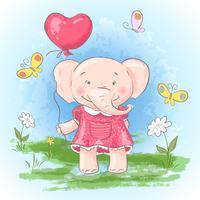Illustration vykort Gullig baby elefant med en ballong, blommor och fjärilar. Skriv ut på kläder och barnrum