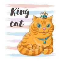 Illustration av en katt i en krona på huvudet. Skriv ut för kläder eller barnrum