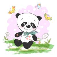 Illustration vykort Gullig tecknad panda med blommor och fjärilar. Skriv ut för kläder eller barnrum