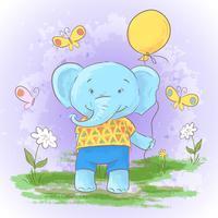 Illustration vykort Gullig tecknad film älskling elefant med en ballong. Skriv ut för kläder eller barnrum