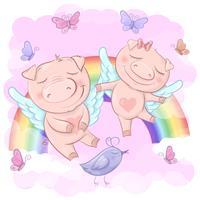 Illustration av söta tecknadssvin på en regnbågebakgrund. Skriv ut för kläder eller barnrum