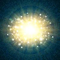 Digital blå teknik fyrkantig cirkel av guld glitter burst center bakgrund. illustration vektor eps10