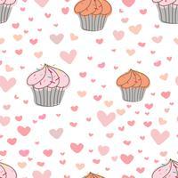 Cupcakes mönster bakgrund, Söt bageri mönster, Vektor illustration.