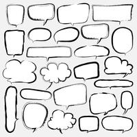 Bubblor Ställ Doodle Style Comic Balloon, Cloud Shaped Design Elements. Vektor illustration.