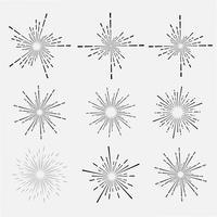 Ställ av solstrål stil isolerad på vit bakgrund, Bursting strålar vektor illustration.