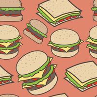 Hand gezeichneter Schnellimbiss- und Burgermusterhintergrund. Vektor-Illustration.