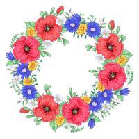 Ein Kranz aus roten Mohnblumen und Gänseblümchen. Handzeichnung Vektor-Illustration