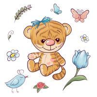 Stellen Sie einen kleinen Tiger mit einem Ballon ein. Handzeichnung