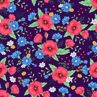 Nahtloses Muster der roten Mohnblumen und der Gänseblümchen. Handzeichnung. Vektor-illustration