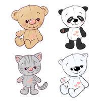 Set Panda Cub Kätzchen Teddybär Hase. Handzeichnung. Vektor-illustration