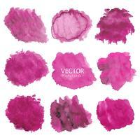 Set med rosa akvarell bakgrund, Pensel stroke logotyp, Vektor illustration.