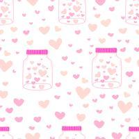 Hjärta i mason burkar mönster bakgrund, Mönster med glasburk och hjärta inuti, Kärlek doodle stil mönster, Presentpapper papper bakgrund, Vektor illustration.