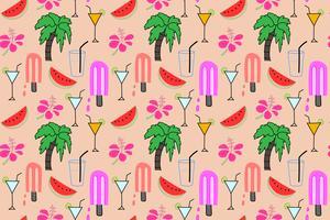 Sommermusterhintergrund, tropisches Flamingomuster, Vektorillustration.
