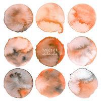 Orange akvarell cirkel sätta på vit bakgrund, Vektor illustration.