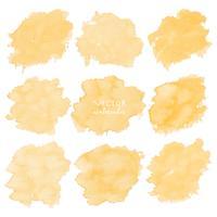 Gelbes Aquarell stellte auf weißen Hintergrund, Vektorillustration ein. vektor