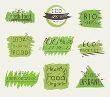Satz von Banner ECO-Produkt, natürlich, vegan, Bio, frisch, gesundes Essen. Vektor-illustration