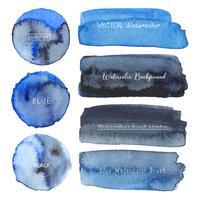 Satz blaues Aquarell auf weißem Hintergrund, Bürstenanschlagaquarell, Vektorillustration.