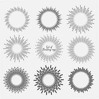 Satz der Sonnendurchbruchart lokalisiert auf weißem Hintergrund, Sprengung strahlt Vektorillustration aus.