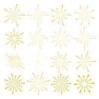 Set av gyllene solstrålstil isolerad på vit bakgrund, Bursting strålar vektor illustration.