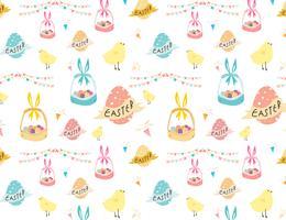 Glücklicher Ostern-Musterhintergrund, nettes Ostern-Muster für Kinder, Vektorillustration.