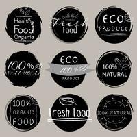 Set med banner ECO-produkt, Naturlig, Vegan, Ekologisk, Frisk, Hälsosam mat. Vektor illustration.