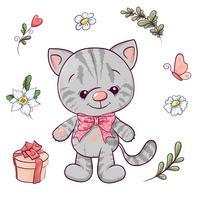 Set med liten kattunge och blommor. Handritning. Vektor illustration