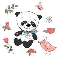 Set med liten panda och blommor. Handritning. Vektor illustration