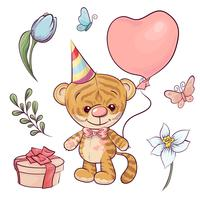 Stellen Sie einen kleinen Tiger mit einem Ballon ein. Handzeichnung. Vektor-illustration