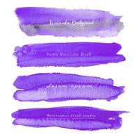 Satz des purpurroten Aquarells auf weißem Hintergrund, Bürstenanschlagaquarell, Vektorillustration.