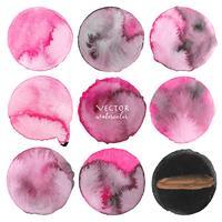 Set med rosa akvarell på vit bakgrund, Borstslag akvarell, Vektor illustration.