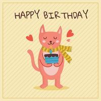 Födelsedag med gullig kattvektor