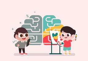 Netter Charakter auf menschlichem Brain Hemispheres Vector Illustration
