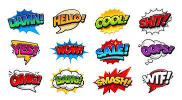 Comic Talbubblor Pop Art Vector Set