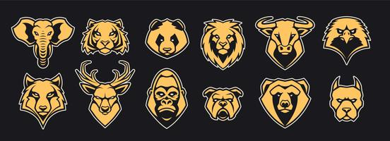 Djurhuvud Mascot Icons Vector Set