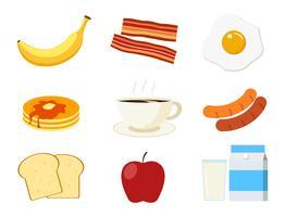 Das Frühstücksmenüset, das auf weißem Hintergrund lokalisiert wird - vector Illustration