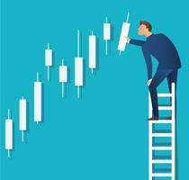 Geschäftskonzept-Vektorillustration eines Mannes auf Leiter mit Kerzenständerdiagrammhintergrund, Konzept der Börse