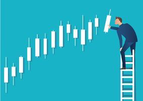 Geschäftskonzept-Vektorillustration eines Mannes auf Leiter mit Kerzenständerdiagrammhintergrund, Konzept der Börse vektor