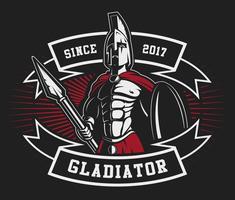 Gladiator Emblem mit einem Speer vektor
