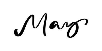Maj Handritad kalligrafi text och penselpennbokstäver. design för semesterhälsningskort och inbjudan till säsongens vårkalender