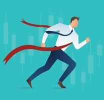 Illustration des laufenden Geschäftsmannes am Zielliniekonzept für Erfolg