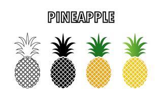 Sammlung von Ananas-Symbol isoliert auf weißem Hintergrund. vektor