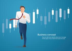 Geschäftsmann, der mit Kerzenständerdiagrammhintergrund, Konzept der Börse, Vektorillustration läuft vektor