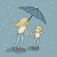 Moderoffret att gå i regnet för dottern att köpa leksaker på natten